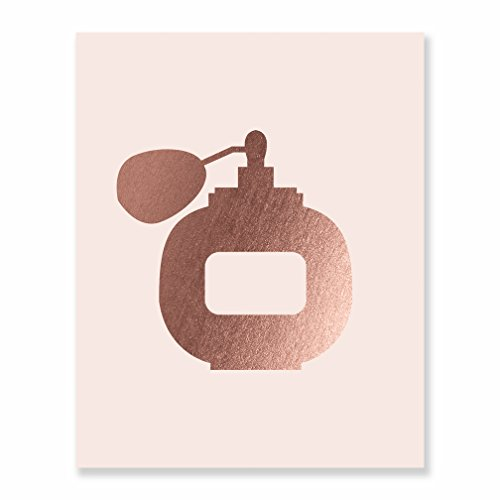 Perfume Rose Gold Foil Art Print Small Pink Poster Vintage Bottle Metallic Dorm Decor Makeup Fashion Girl Room Nursery Art 5 inches x 7 inches A3 (Mascara Perfume)