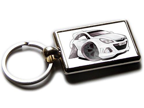 - Koolart Cartoon Car Vauxhall Corsa VXR Chrome Keyring Picture Both Sides (White & Black Wheels)