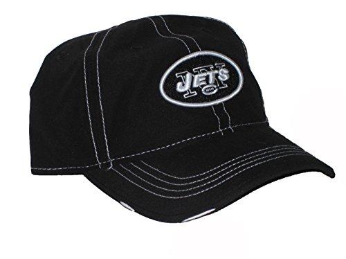 (New York Jets NFL Black & White Stitches Distressed Adjustable Hat)