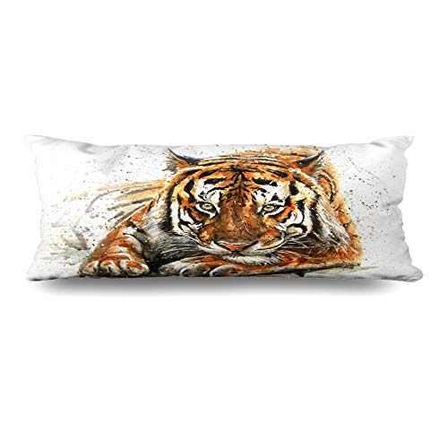 (Ahawoso Body Pillows Cover 20x54 Inches Exotic Watercolor Drawing Tiger Orange Abstract Graphic Kostart Sketch Vintage Decorative Cushion Case Home Decor Pillowcase)