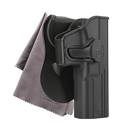 Holsters for Glock43 42 17 19 21 27 Paddle Holsters with Trigger Release Adjustable Cant Military Grade Polymer Holster 360 Degrees Rotation OWB Carry (Glock17 22 31) -Microfiber Cloth Included