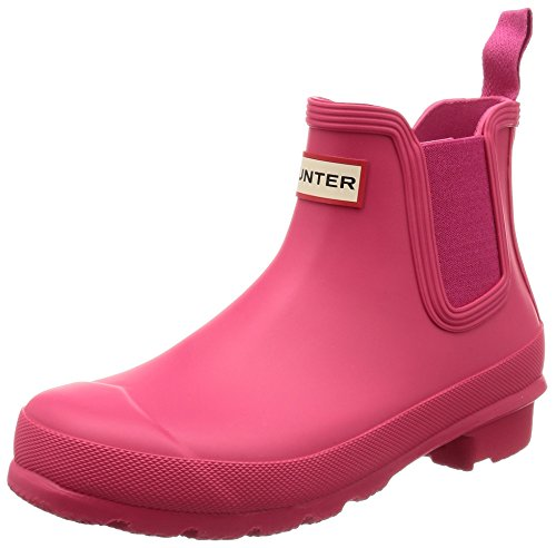Hunter Womens Original Chelsea Festival Rain Snow Waterproof Ankle Boots - Bright Pink - 5