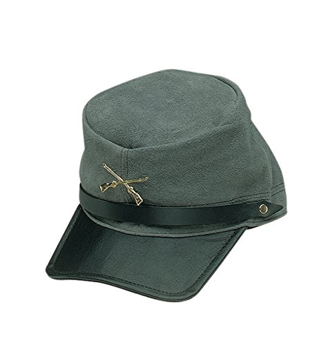 Adult Confederate Soldier Costumes - Jacobson Hat Company Men's Suede Rebel Cap, Gray, Adult