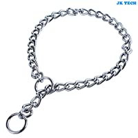 JK TECH Dog Choke Chain Collar Metal Chrome Dog Obedience Training Collar Slip Snake Chain Collars 3mm Link 22inch for Small Medium Large Dogs