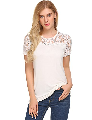 BLUETIME Womens Summer Blouse Lace Hollow Short Sleeve Casual Tee Shirts Tunic Tops
