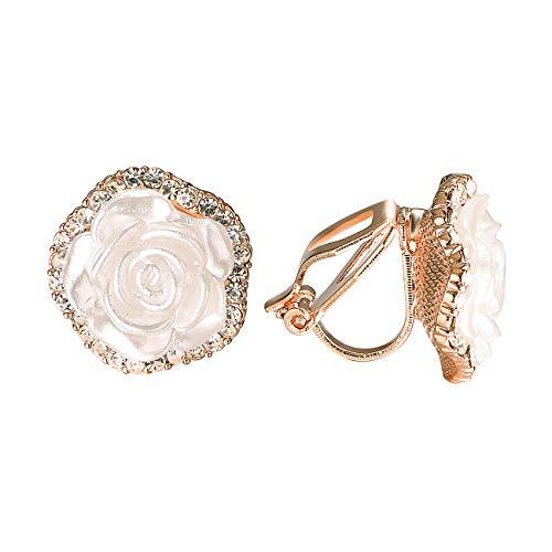VOGEM Elegant Vintage Earrings For Women White Resin Rose Flower Shaped With CZ Crystals Clip On Earrings