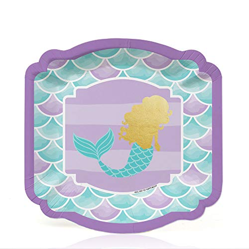 Let's Be Mermaids with Gold Foil - Baby Shower or Birthday Party Dessert Plates (16 Count)