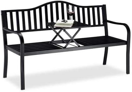 Relaxdays, Negro, Banco Jardín y Terraza de 3 Plazas con Mesa Plegable, Acero, 90 x 150 x 57, 5 cm: Amazon.es: Jardín