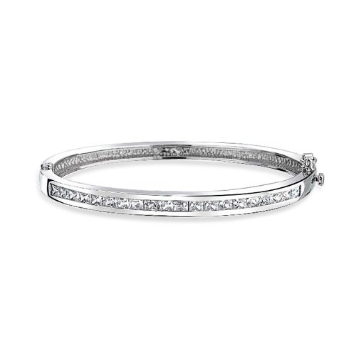 Channel Set Bracelet - Channel Set Princess Cut CZ Bridal Brass Bangle Bracelet