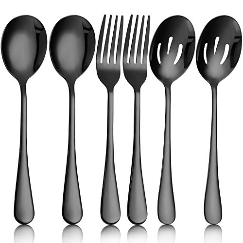 6 Pieces Large Stainless Steel Serving Spoons Slotted Serving Spoons Serving Forks Set for Catering Serving Utensils…