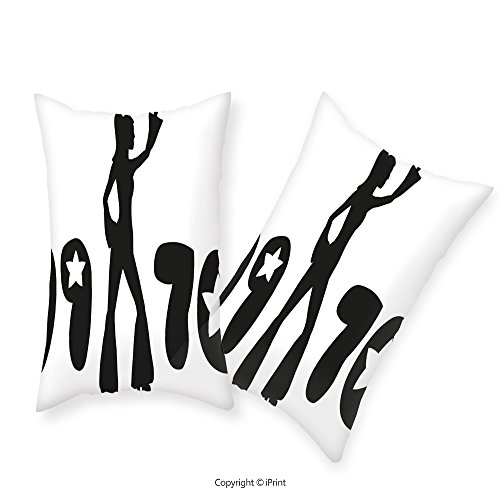 iPrint Premium Cotton Zippered Pillow Cases 2 Pack 70s Party Decorations Retro Seventies Woman Silhouette Stars Dancing Fashion Youth Black and White For home decoration