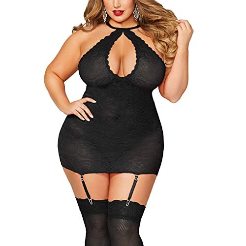 Quelife Women Sexy Halter Plus Size Lace Lingerie Keyhole Babydoll Chemise with Garters Black ()