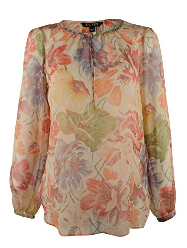 Lauren Ralph Lauren Women's Floral Print Georgette Blouse Shirt-TM-M