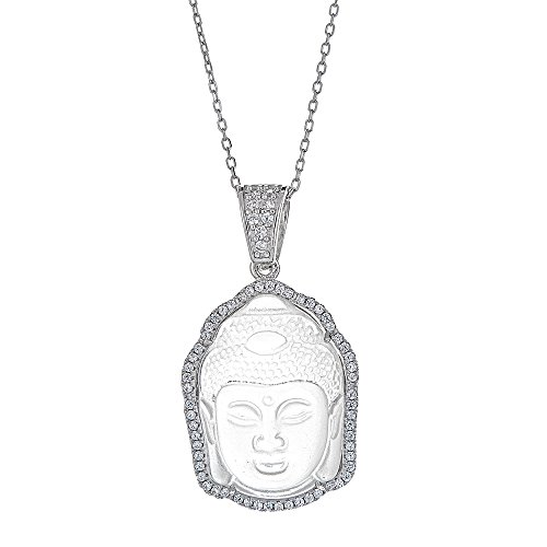 Platinum Plated 925 Sterling Silver Round CZ Clear Quartz Buddha Head Pendant Necklace