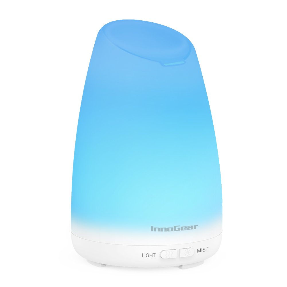 InnoGear 150ml Essential Oil Diffuser Ultrasonic Aroma Aromatherapy Diffusers with 7 Changeable Colored LED Lights, Adjustable Mist Mode and Waterless Automatically Shut-off product image