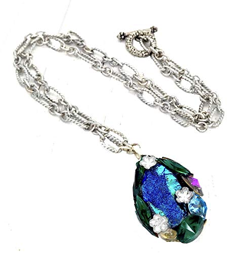 Sterling Silver Statement Necklace Rainbow Druzy Gemstone Swarovski Crystal Elements