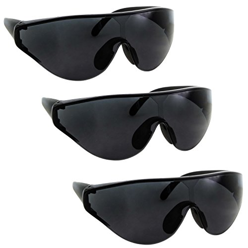 3 Pairs Bulk XL Large Wide Frame Safety & Shooting Glasses Tinted, Clear, Yellow Lens - Black 3 - Sunglasses Bulk Safety