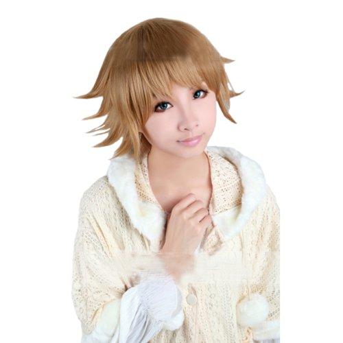 [Angelaicos Mens Layered Heat Friendly Halloween Costume Cosplay Wigs Short Brown] (Chihiro Cosplay Costume)