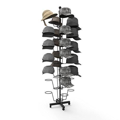 Homdox 7 Tier 35 Hat Display Rack Rotating Adjustable Metal Floor Stand
