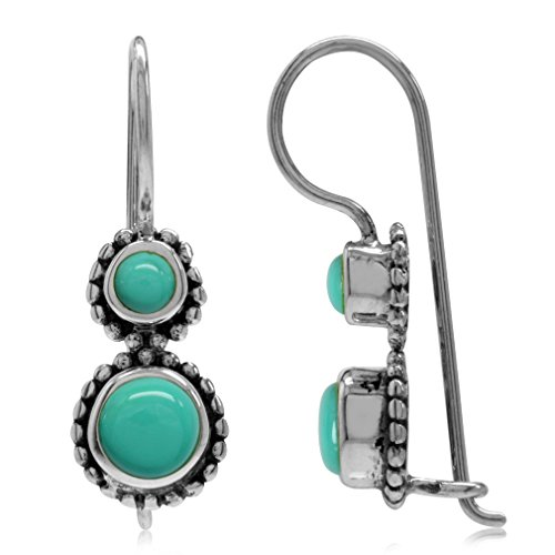Created Green Turquoise Antique Finish 925 Sterling Silver Bali/Balinese Style Hook Earrings