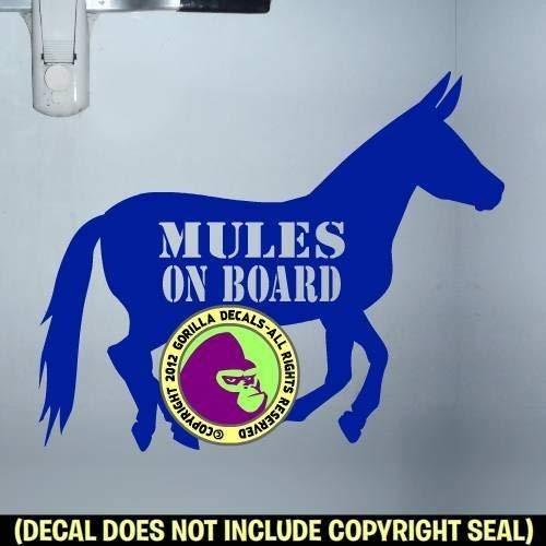 MULES ON BOARD Body Mule Horse Trailer Vinyl Decal Sticker E