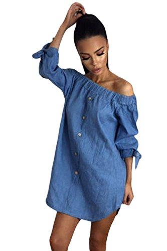 Damen Chambray Off Schulter Faux Button Up Kleid Mini Kleid Club Wear Casual Wear Größe S UK 8–10 EU 36–38