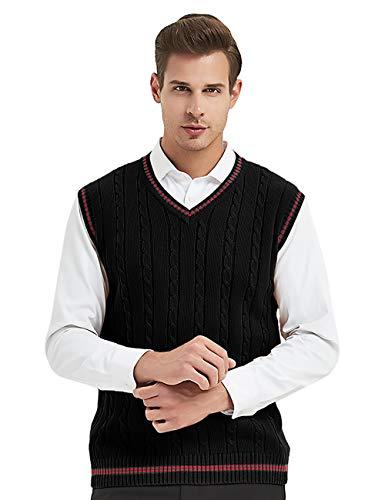 - TOPTIE Men's V-Neck Cotton Cable Knit Sweater Vest Slim Fit Casual Waistcoat-Black-XL