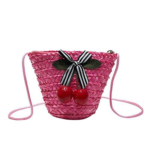 Youth Director Chair - Woven Straw Crossbody Zipper Bag Women Cherry Mini Beach Messenger Shoulder Purse Pink 15X12X8 cm