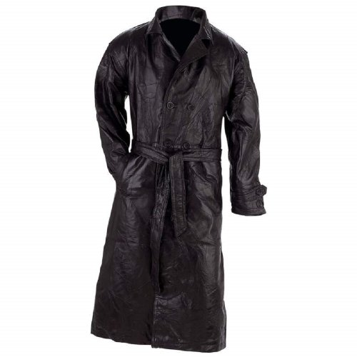 Giovanni Navarre® Italian Stone™ Design Genuine Leather Trench Coat XL. (Leather Stone Genuine Coat Italian)