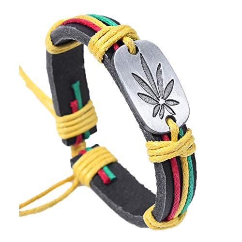 Art Attack Weed 420 Marijuana Pot Leaf Rastafarian Jamaica Hip Hop Rap Adjustable Bracelet