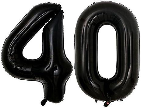 Amazon.com: Globos de números negros gigantes de 40 pulgadas ...