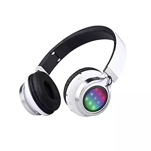 Stereo Headphones On Ear,Jeselry Wireless Colorful Bass Headsets Bluetooth with MIC, LED Lights, USB Charging and FM Function (White)