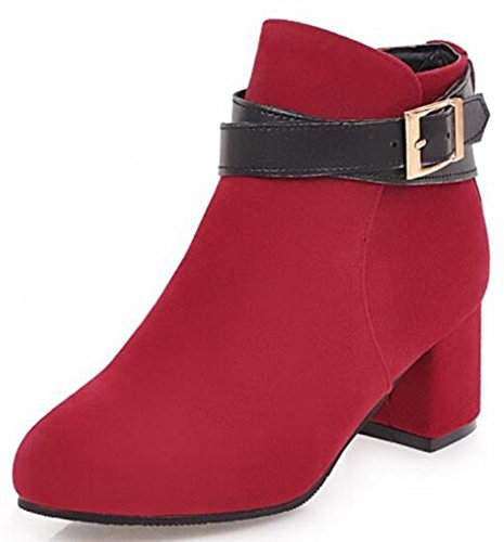 IDIFU Womens Classic Buckle Faux Suede Round Toe Mid Chunky Heels Short Ankle Boots Red GWCwjdPlTz