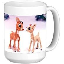Classic Rudolph Christmas Print 15 ounce Ceramic Coffee Mug Tea Cup by PoshPrints