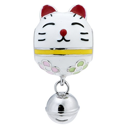 Rhodium On 925 Sterling Silver Fortune Lucky Cat Enamel Jingle Bell Dangle European Style Charm