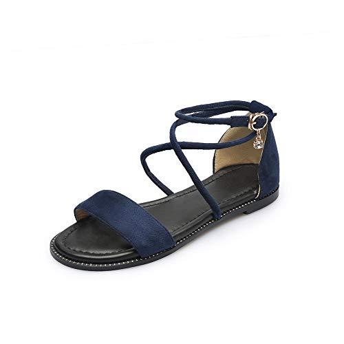 Vestir De Tsmlh007616 Mini Con Mujeres Tacón Aalardom Sandalias Azuloscuro Sólido Esmerilado Hebilla 8zBTvxq