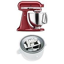 KitchenAid KSM150PSER Artisan 5-Quart Stand Mixer, Empire Red + KitchenAid KICA0WH Ice Cream Maker Attachment Bundle