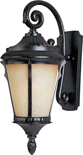 (Maxim 3014LTES Odessa Cast 1-Light Outdoor Wall Lantern, Espresso Finish, Latte Glass, MB Incandescent Incandescent Bulb , 50W Max., Dry Safety Rating, 2900K Color Temp, Standard Dimmable, Glass Shade Material, 6500 Rated Lumens)
