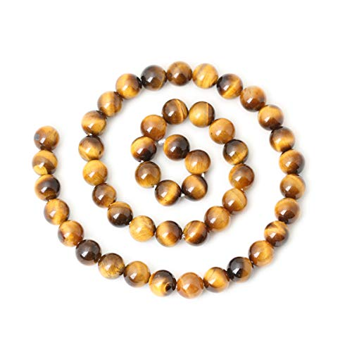 """CHEAVIAN 45PCS 8mm Natural Yellow Tiger Eye Stone Gemstone Round Loose Beads for Jewelry Making DIY Findings 1 Strand 15"""""""