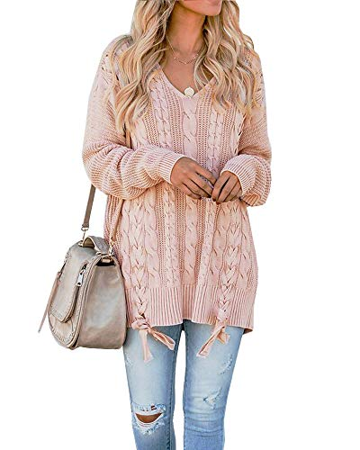 Pink V-neck Jumper - Womens Pink Lace Up Pullover Sweaters Long Sleeve Cable Knit V Neck Fall Jumper Tops