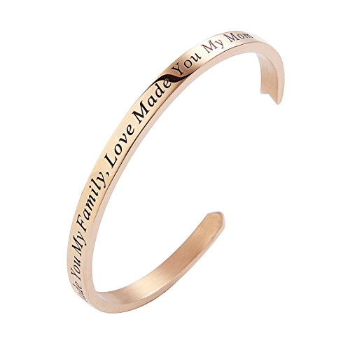 Meibai Mother of the Groom gift Stamped Stainless Steel Arrow Cuff Bangle Mother Wedding Keepsake (Rose Gold-Marriage Made You My Family Love Made You My Mom)