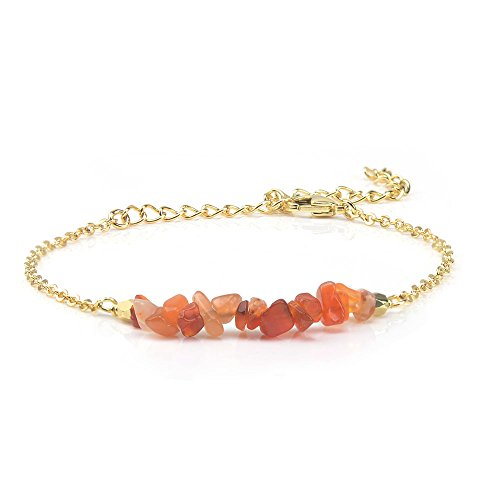 Jeka Red Agate Crystal Bracelet for Women Girls Natural Gemstone Stone Bar 18K Gold Chain Jewelry Dainty Gifts for Valentine's Day Birthday