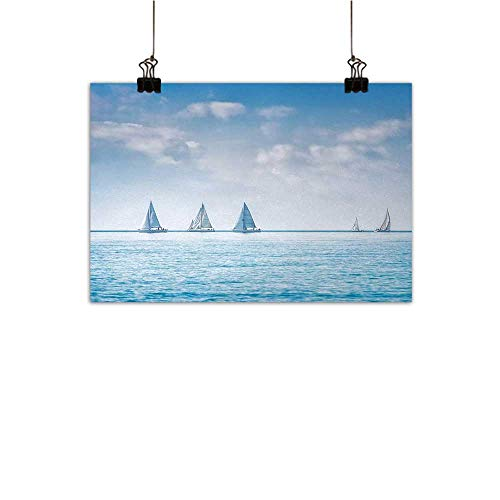 Gabriesl Ocean Canvas Wall Art for Bedroom Home Decorations Sail Boats Sea Regatta Race Sports Panoramic View Seascape Summer Sky Photohome Crossing paintingLight Blue and White W36 x H32