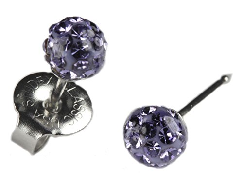 Ear Piercing Earrings 4.5mm Fireball Lavender Purple Crystal Ball Silver Studs Studex System 75 Hypoallergenic