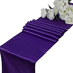 mds Pack of 10 Wedding 12 x 108 inch Satin Table Runner for Wedding Banquet Decoration- Cadbury Purple