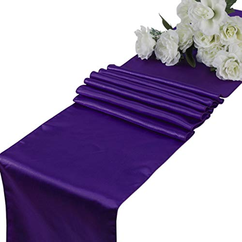 mds Pack of 10 Wedding 12 x 108 inch Satin Table Runner for Wedding Banquet Decoration- Cadbury Purple]()