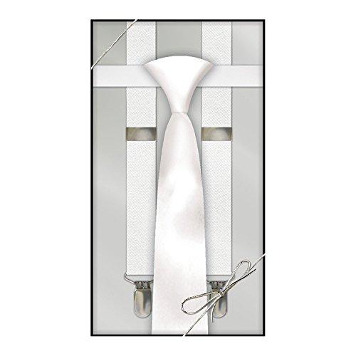 Suspender & Neck Tie Set White Mens