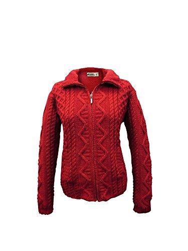 100% Irish Merino Wool Aran Knit Zip Sweater with pockets by West End Knitwear, Cherry, ()