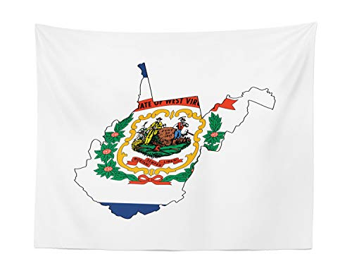Lunarable West Virginia Tapestry, Mountain State Map with Flag Farming and Mining Mountaineers are Always Free, Fabric Wall Hanging Decor for Bedroom Living Room Dorm, 28 W X 23 L Inches, Multicolor