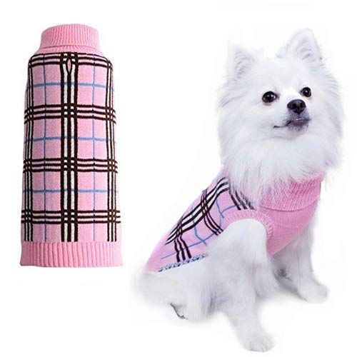 Dog Sweater Plaid Winter Clothes for Dogs Puppy Boys Girls Pink XSmall